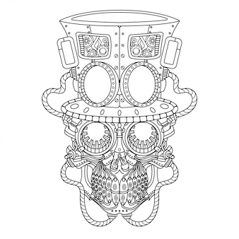 Crâne steampunk illustration style linéaire