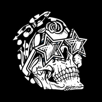 Crâne de style grunge portant des lunettes illustration