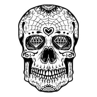 Crâne de sucre dessiné à la main sur fond blanc. le jour des morts. élément pour affiche, t-shirt. illustration