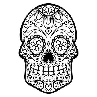 Crâne de sucre sur fond blanc. le jour des morts. dia de los muertos. élément pour affiche, carte, bannière, impression. illustration