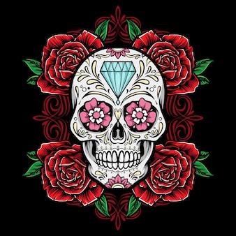 Crâne de sucre avec illustration de cadre de roses