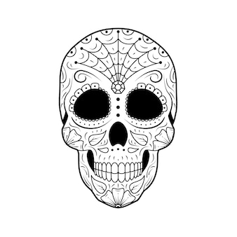 Crâne de sucre jour du mort avec ornement floral détaillé. calavera symbole mexicain.