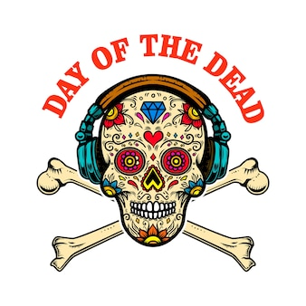 Crâne de sucre mexicain avec écouteurs et os croisés. le jour des morts.
