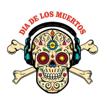 Crâne de sucre mexicain avec écouteurs et os croisés.