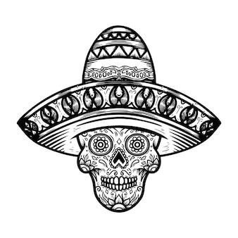 Crâne de sucre mexicain en sombrero. thème du jour des morts. élément de design pour affiche, t-shirt, emblème, signe.