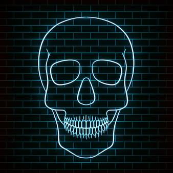 Crâne de sucre traditionnel. élément de design pour le jour des morts. néon