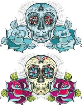 Crâne de sucre de vecteur avec des roses. coloré et unicolore.