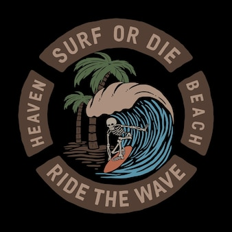 Crâne surfer sur la vague