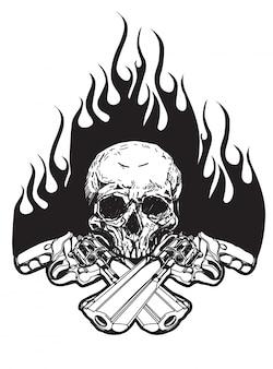 Crâne de tatouage et arme à feu