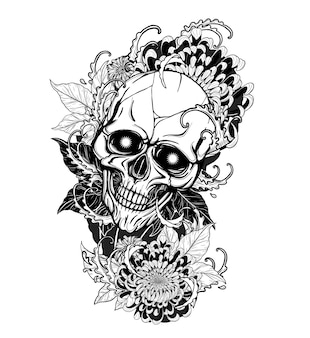 Crâne avec tatouage de chrysanthème à la main en dessinant