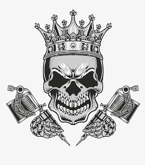 Crâne de tatouage de roi illustration