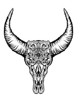 Crâne de taureau avec ornement floral