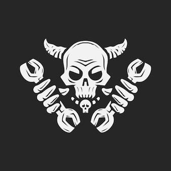 Crâne tenant la clé squelette réparateur illustration vectorielle de logo vintage