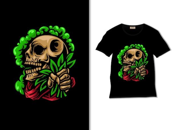 Crâne tenant du cannabis avec une illustration de fumée avec un design de t-shirt