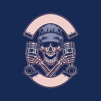 Crâne tenant le piston avec bannière de ruban