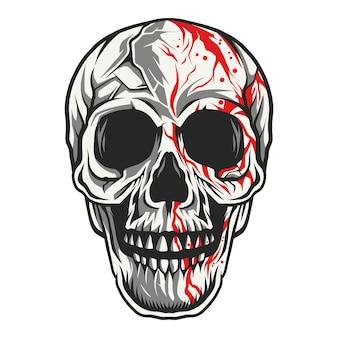 Crâne tête dace illustration sang dégoulinant