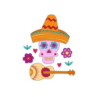 Crâne tiré par la main de fiesta de cinco de mayo avec des éléments de décoration