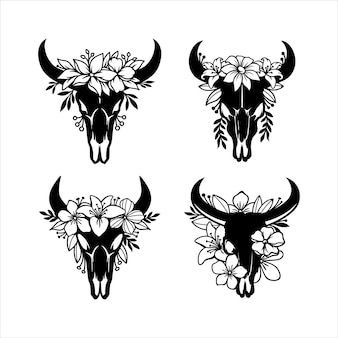 Crâne de vache aux cornes décorées de fleurs
