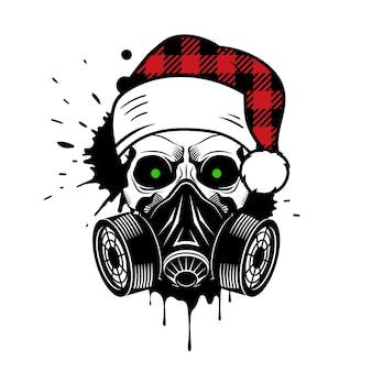 Crâne de vecteur avec bonnet de noel à carreaux de buffle et masque à gaz