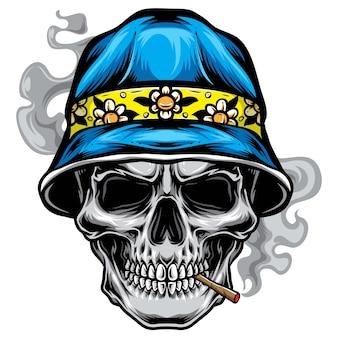Crâne avec vecteur de chapeau seau