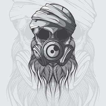 Crâne de vecteur avec masque à gaz