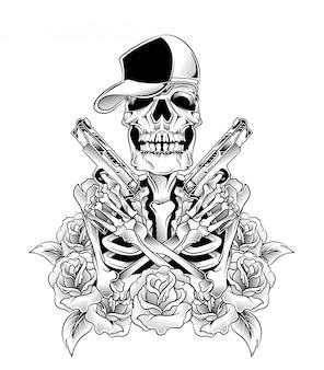 Crâne avec vecteur de pistolet