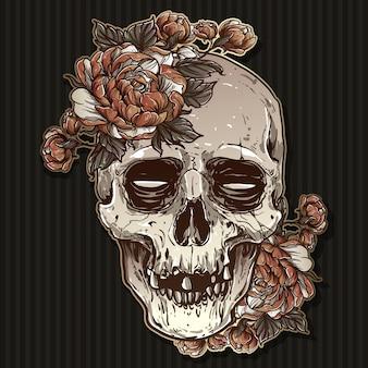 Crâne avec vecteur de rose