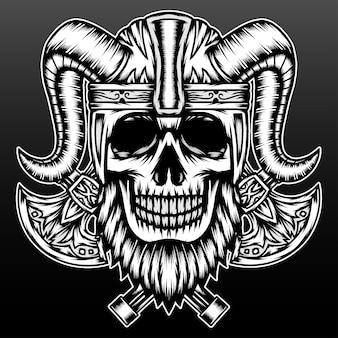 Crâne de viking barbu cool isolé sur fond noir