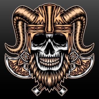 Crâne de viking barbu isolé sur fond noir