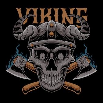 Crâne viking avec illustration d'axes