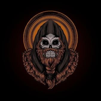 Crâne viking illustration premium vecteur, parfait pour t-shirt