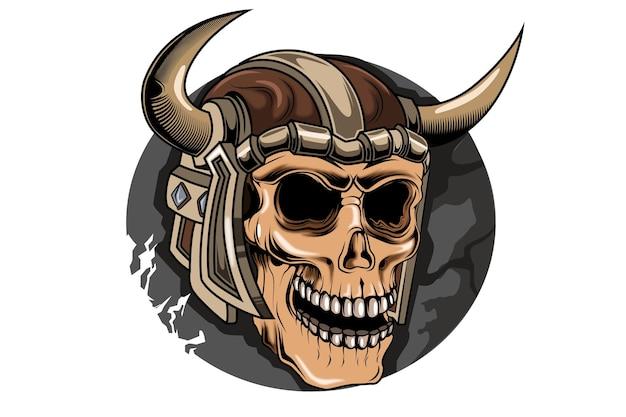 Crâne viking main dessin illustration