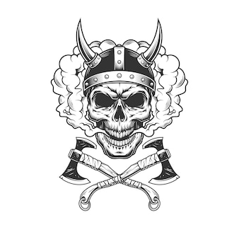 Crâne viking portant un casque à cornes