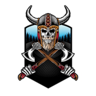 Crâne viking tenant une hache