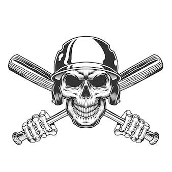 Crâne vintage dans un casque de baseball