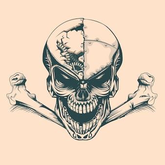 Crâne vintage avec des mécanismes en tête