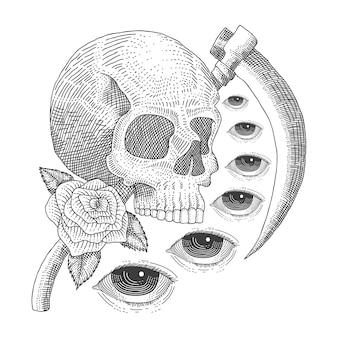 Crâne vintage la mort des yeux