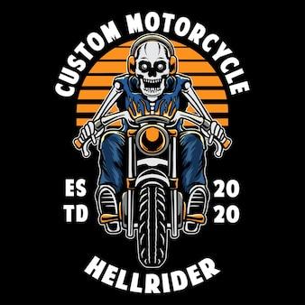 Crâne vintage avec moto
