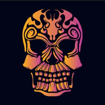 Crâne visage décoratif rétro illustration couleur néon