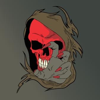 Crâne visage rouge