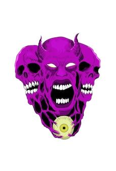 Crâne avec des yeux couleur violet vector illustration