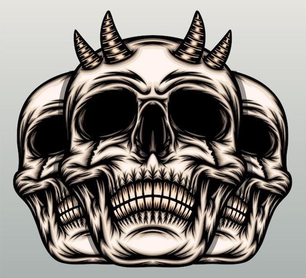 Crânes avec corne.