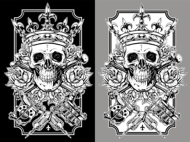 Crânes avec couronne et roses