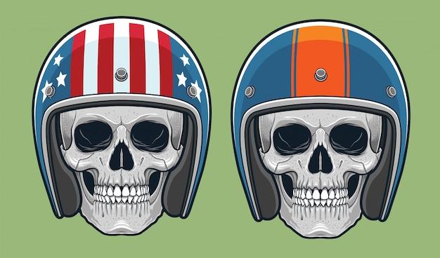 Crânes avec la course vintage