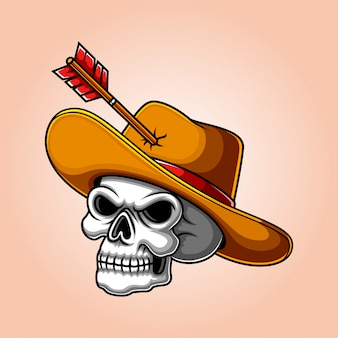 Crânes de cowboy humain effrayant avec chapeau en cuir