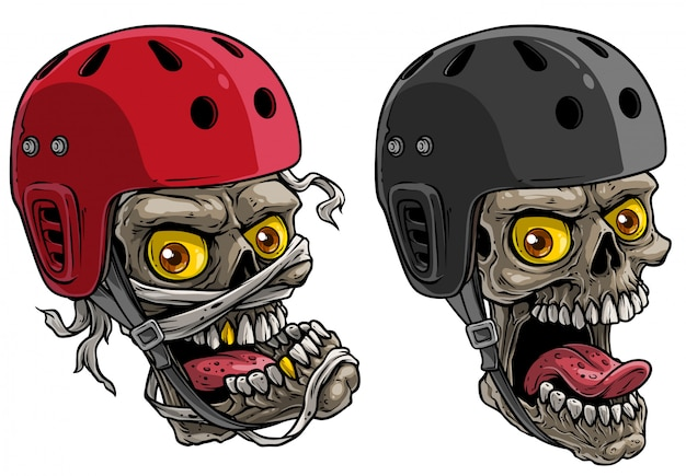 Crânes de dessin animé dans un casque de skateboard protecteur