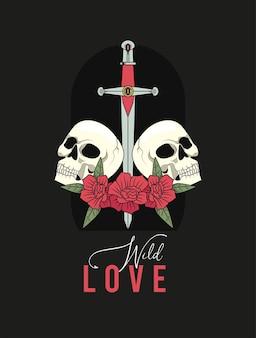 Crânes et épée