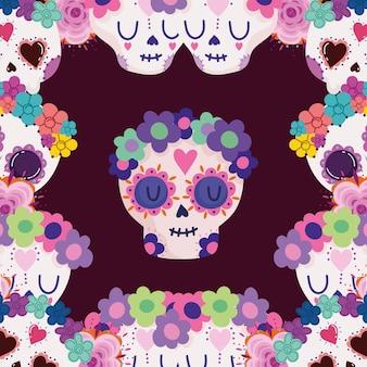 Crânes avec des fleurs mexicaines