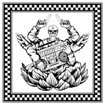 Les crânes hip hop portent des pistolets et un lecteur de radio