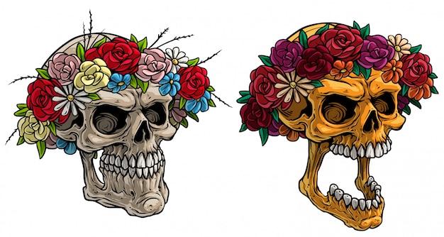 Crânes humains réalistes de dessin animé avec couronne de fleurs